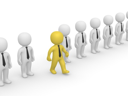 going out: Rank of 3d people with one going out. 3d rendering. Stock Photo