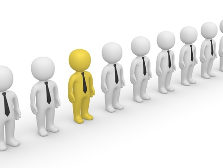 Rank of 3d people. First frame of simple animation.