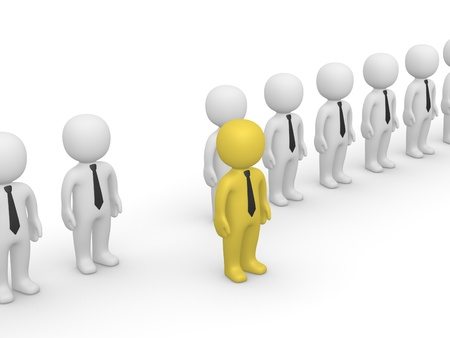 Rank of 3d people with one standing out. Third frame of simple animation.