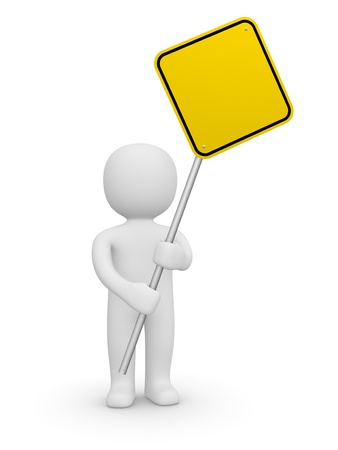 traffic regulation: 3d man holding the empty road sign. 3d rendering. Stock Photo