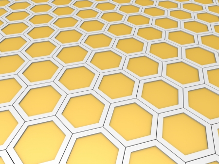 cdma: Abstract background with beige hexagonal cells. 3d rendering.