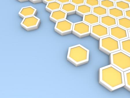 cdma: Hexagonal blocks laying on blue surface. Computer generated image. Stock Photo
