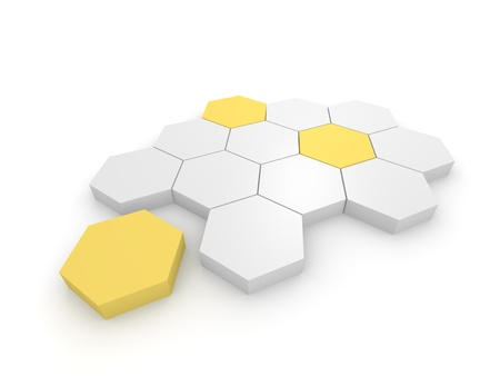 Abstract business illustration with 3d hexagonal blocks. Computer generated image.