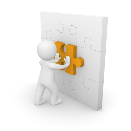 contributor: 3d man pushing puzzle piece into wall. 3d rendering.