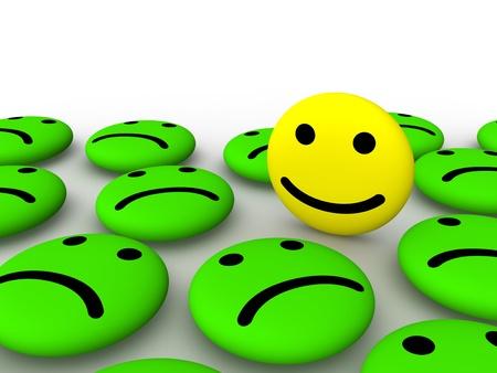 Happy smiley face among sad smileys. 3d rendering. Foto de archivo