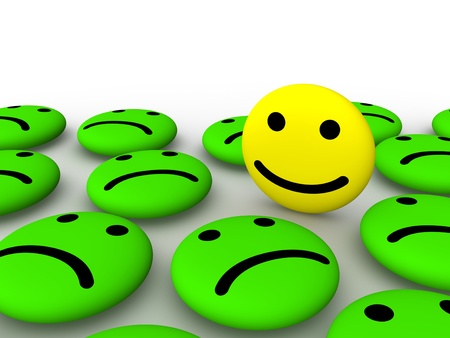 caras tristes: Feliz cara sonriente entre emoticonos triste. Representación 3D.
