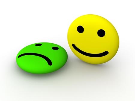 caras tristes: Triste y feliz caras sonrientes. Representación 3D.