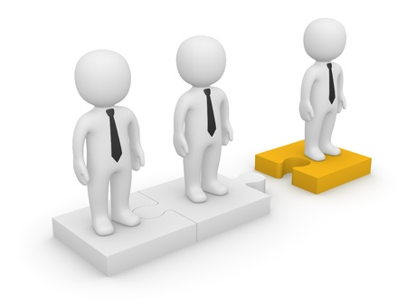 office politics: 3d people standing on detached puzzle pieces. 3d rendering. Stock Photo