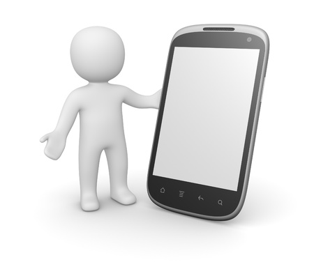 3d man with smart phone. 3d rendering.
