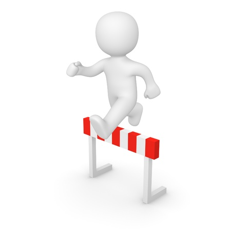3d man jumping over hurdle. 3d rendering. Stock Photo - 17215055