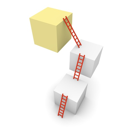 developement: Three cubes with ladders. 3d rendring. Stock Photo