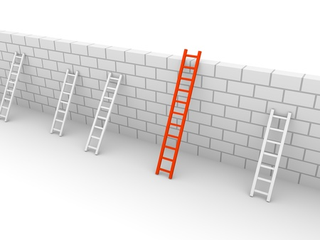 Several ladders with different length leaning the brick wall. 3d rendering.