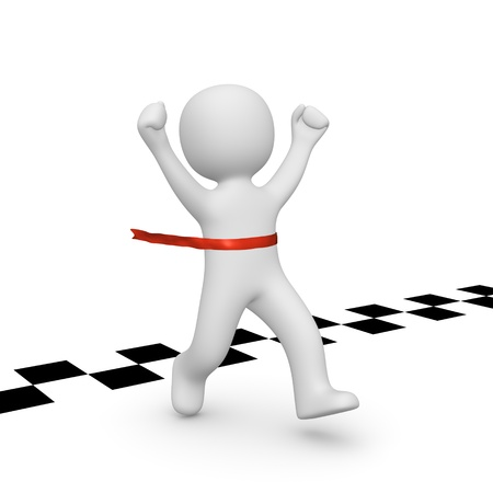 reached: 3d man has reached the finish line. 3d rendering. Stock Photo