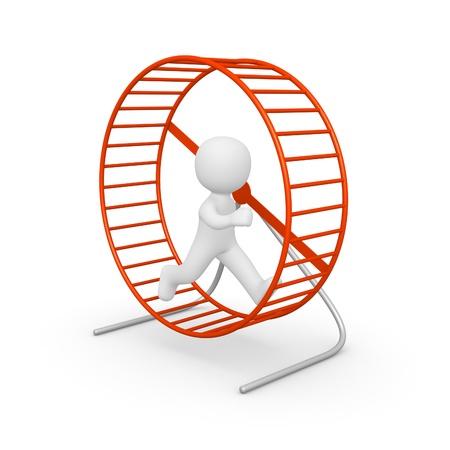 3d man running in the hamster wheel. 3d rendering. Stock Photo