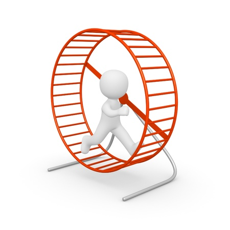 3d man running in the hamster wheel. 3d rendering. photo