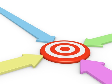 different goals: Four arrow pointing on target. 3d rendering. Stock Photo
