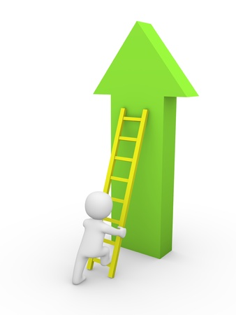 professionalism: 3d man climbing on the arrow. 3d rendering.