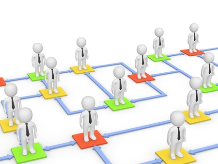 Relationships among business people. 3d rendering. Stock Photo