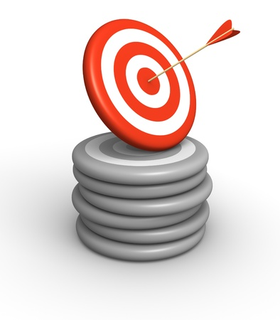 attainment: Arrow hitting on red target laying on pile of grey targets. 3d rendered illustration. Stock Photo
