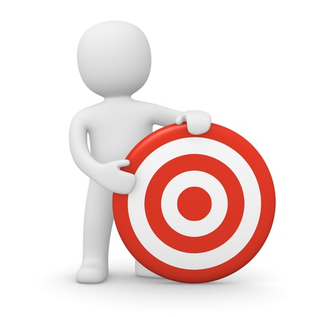 3d man with target. 3d rendered illustration. Stock Photo