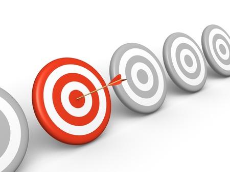 Arrow hitting on red target among grey targets  3d rendered illustration Stock Illustration - 18369813