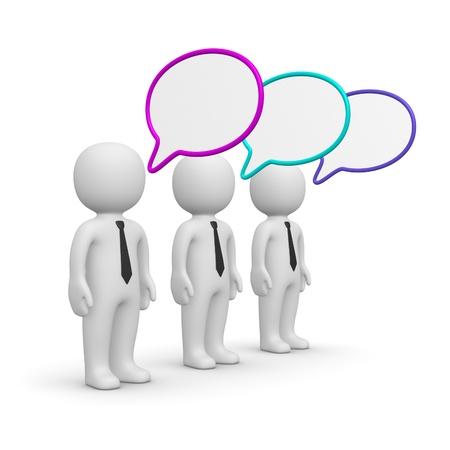 intercommunication: Three 3d men with speech bubbles