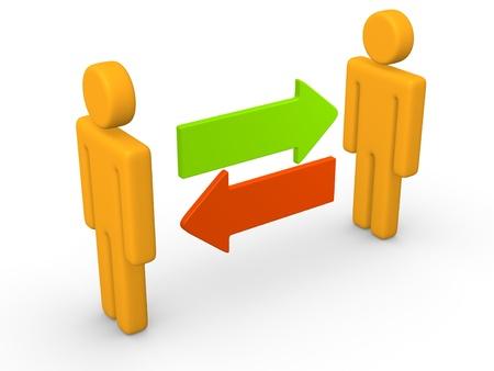 communication metaphor: Exchange between two 3d men  3d rendering