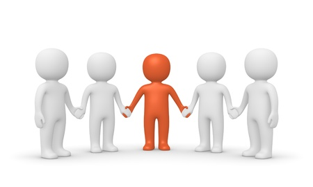 mutual: Group of 3d people with leader  Computer generated image  Stock Photo