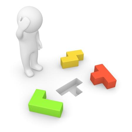 lógica: Hombre 3d que intenta resolver un problema generado por ordenador imagen