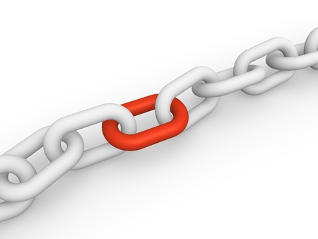 jointly: White chain with red link  3d rendering
