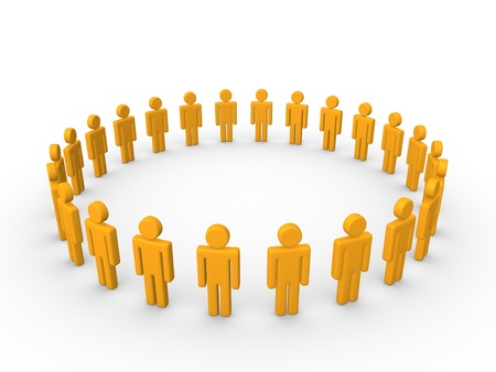 Circle of simple 3d characters. Stockfoto