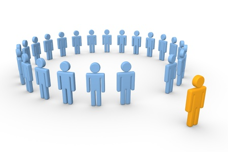 3d human standing out of the circle of people. 3d rendering.