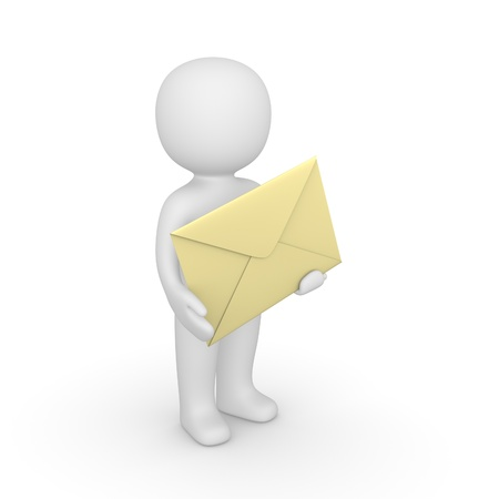 sender: 3d man holding big envelope. Computer generated image. Stock Photo