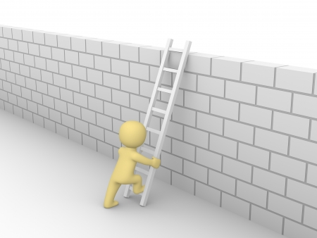 capability: 3d man climbing on the brick wall  3d rendering