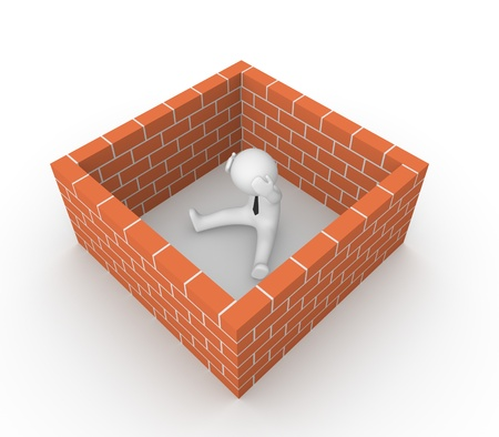 3d man surrounded by the brick wall  3d render  photo