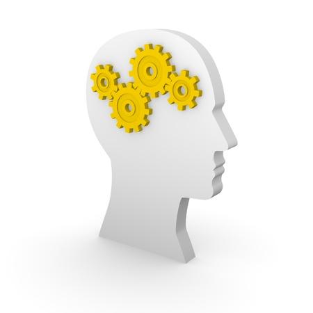 logica: Silueta de la cabeza humana con engranajes de color amarillo. Las 3D. Foto de archivo