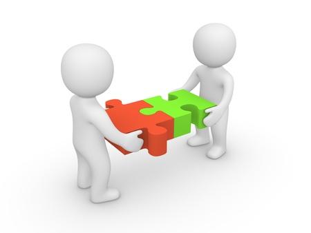두 3d 사람이 퍼즐 조각을 함께 결합 스톡 콘텐츠