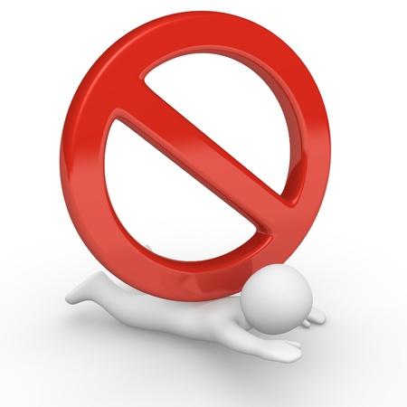 deny: Big no sign pressing small 3d human