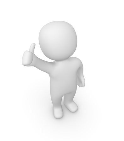 proud: 3d man showing thumbs up sign Stock Photo
