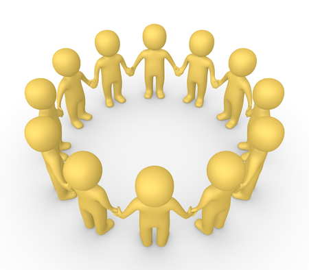 3d people standing in the circle and holding hands together