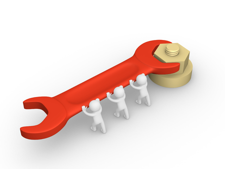 collectives: 3d people tightening a screw nut Stock Photo