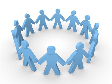 Bleu 3d personnes debout dans le cercle Banque d'images - 24910834