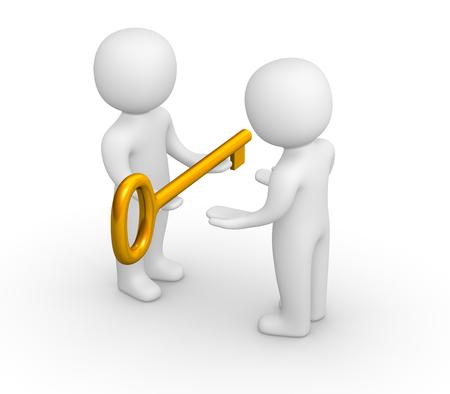 delegar: 3d hombre dando la llave de oro a otra persona