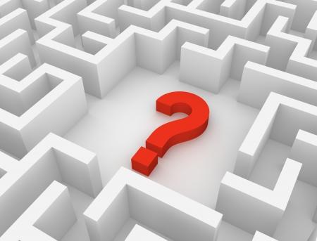 difficult task: Interrogation mark inside labyrinth