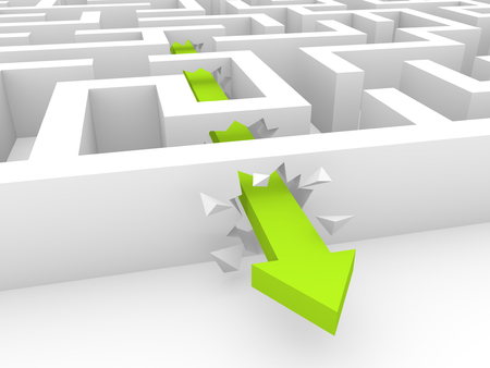 Green arrow breaking a way through labyrinth walls