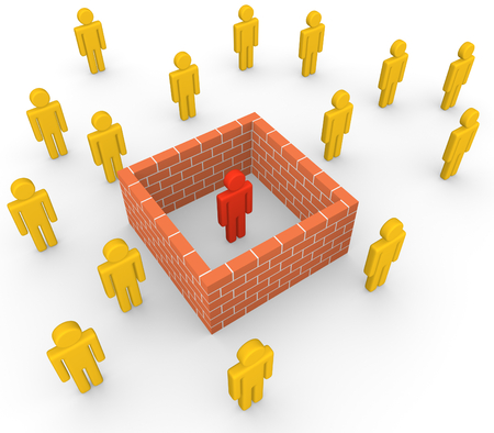 recluse: 3d man isolated from society by the brick wall Stock Photo