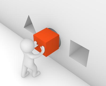 3d man zetten een kubus in het verkeerde gat