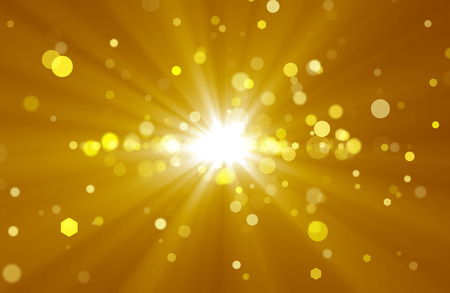 Abstract background with golden rays and spots photo