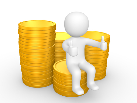 3d man sitting on pile of coins. 3d illustration. Stock Photo