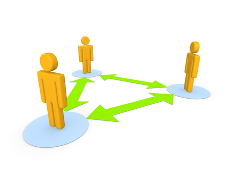 between: Communication between three peoples. 3d illustration.